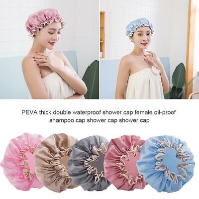 Women's Waterproof Shower Cap Reusable Double Layer Thicken Bath Cap Hair Hat