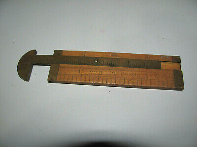 "Vintage Rabone No 1460 4"" Boxwood & Brass Caliper Gauge Made In England As Shown"