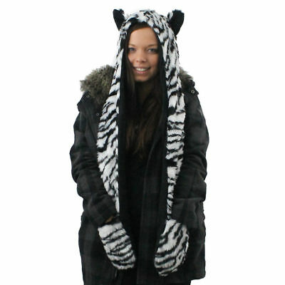 New Animal Hood Faux Fur With Fleece Lined Hat Scarf , Hand Pockets
