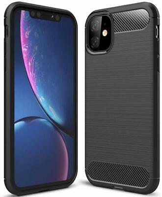CARBON FIBRE Case For iPhone 11 Pro Max Shockproof Cover Silicone Gel Tough UK