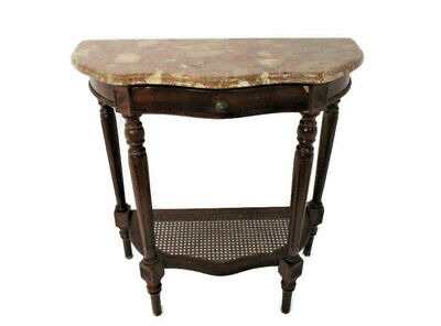 Demi Lune Wall Console table Ornate Marble Top Rush Bottom Tier Gorgeous