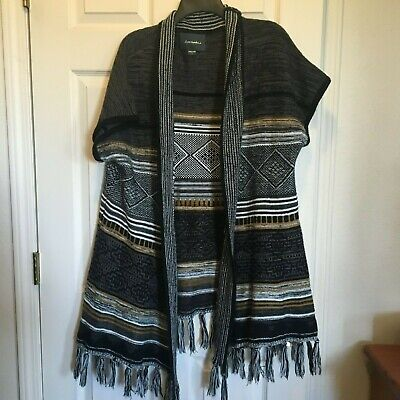 Lovemarks Womens  Open Long Cardigan  Print Top Fringe Ends Sz Large Acrylic ss