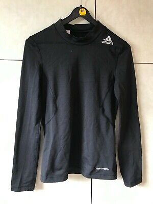 boys black Adidas Techfit Climawarm fitted long sleeves top base layer age 11-12