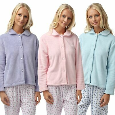 Ladies Fleece Button Through Bed Jacket Lounge Top Blue Lilac Pink Size 10-26