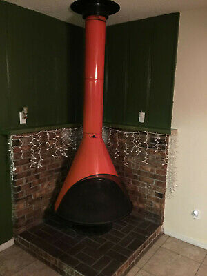 Vtg Preway Fireplace Red Swag Cone Shape Mid Century Modern Art Deco Fire