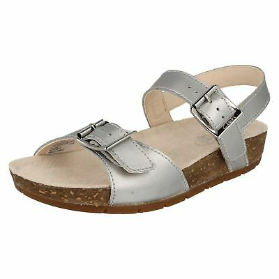 NEW Clarks Girls Silver Leather Active Air Footbed Buckle Strap Sandals Sz 1 F
