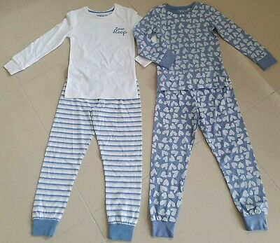 New Girls x M&S Pyjamas Nightwear Blue White Marks and Spencer age 3-16 years