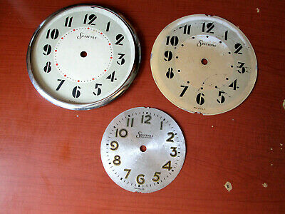 Lot of 3 Sessions Electric Mantle Clock Dials 1 With Chrome Bezel ( 524R)