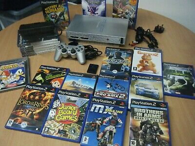 Sony Silver Playstation 2 Bundle Console Controller Memory Card And 20 Games