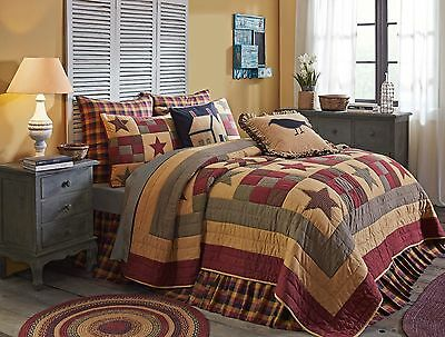 HAZELWOOD 3pc Queen Quilt SET Ninepatch Block Star Plaid Check Farmhouse Rustic