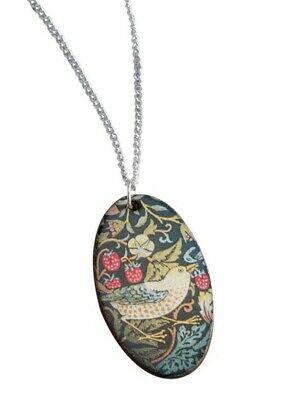 Victorian Trading Co Strawberry Thief Floral Bird Hand Painted Pendant Necklace