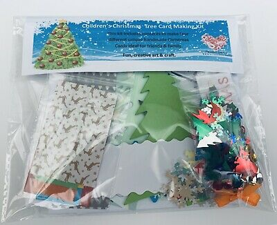 Children's Christmas Tree Card  Making Kit - Makes 4 Card, Fun & Creative