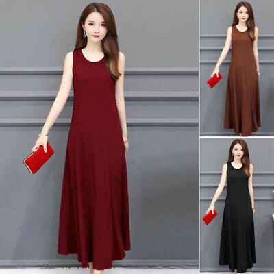 Women Boho Solid Long Maxi Dress Cocktail Party Holiday Summer Beach Sundress
