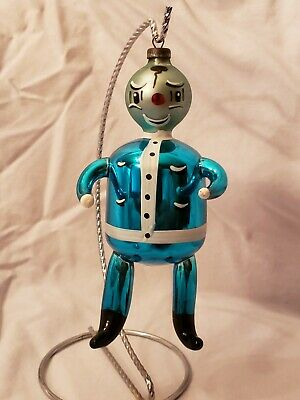 Vintage Hand Blown Glass Blue Santa Figure Christmas Ornament Made in Italy