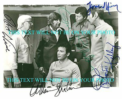 LEONARD NIMOY WILLIAM SHATNER DEFOREST KELLEY RODDENBERRY SIGNED 8x10 RPT PHOTO