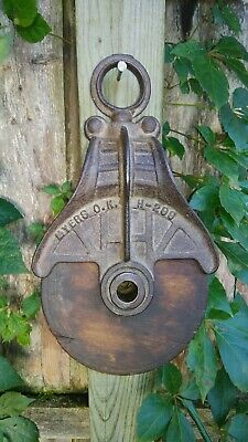 Antique Cast Iron Myers OK Barn Rope Pulley - An Old Rustic Hay Barn Primitive