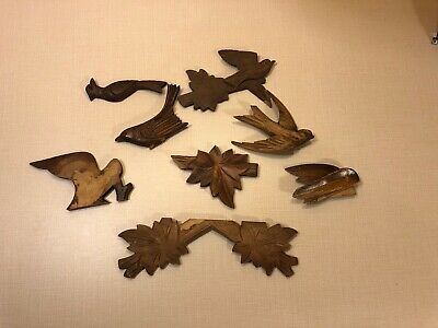 Vintage - German Cuckoo Clock  - Wood Topper Parts Birds Misc.