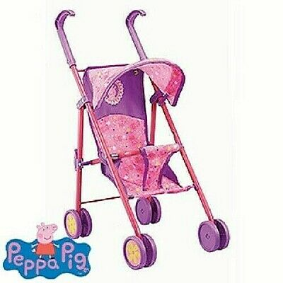 Peppa Pig Kids Pram Buggy Stroller For Baby Dolls Tall Folding Toy