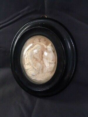 Antique 1800s French Glass Domed Diorama Hand Carved Reliquary Plaque