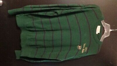 Vintage BP Gas Station Attendant Sweater Green Striped XXL 100% Customer Service