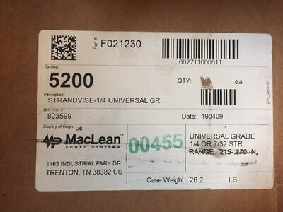 """(Case Of 50) Maclean 5200 1/4"""" Strand Vise (New)"""