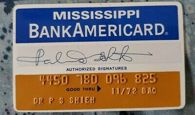 BankAmericard Mississippi Peoples Bank Credit Card exp1972 ♡Free Shipping♡ cc109