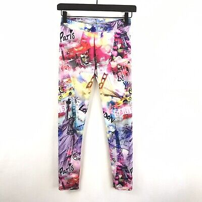 Justice Youth Girls Size 12 Graphic Print Leggings Paris Stretch Skinny