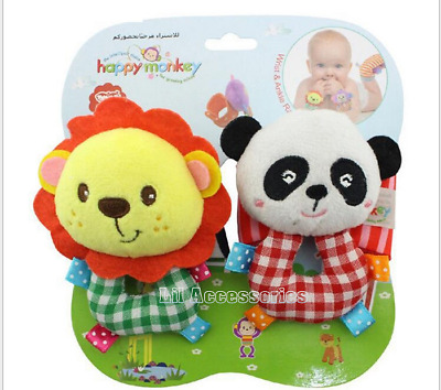 Happy Monkey - Lion & Panda Wrist Rattles