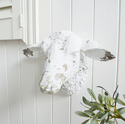 White Sheep Head Wall Decor Country Cottage Decorative