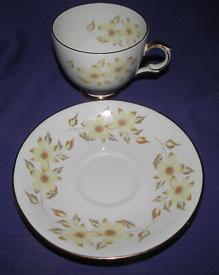 VINTAGE Fine BONE CHINA TEA CUP AND SAUCER Staffordshire ENGLAND Yellow Flowers