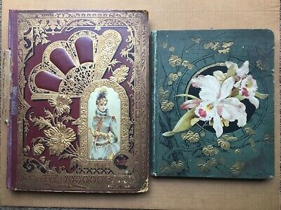 2 VICTORIAN SCRAP BOOKS 624 Diecuts  Trade Cards Black Americana Santa Dogs Cats