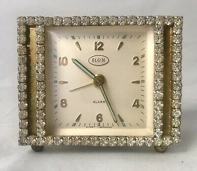 Vtg ELGIN Clear Rhinestone Alarm Clock West Germany