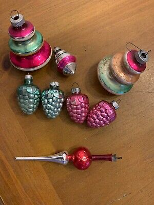 Vintage Mix Shiny Brite Made In USA  Glass Ornaments Lot Of 8