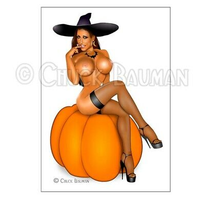 Fridge Magnet sexy Halloween witch Jessica Canizales nude busty pin-up girl art