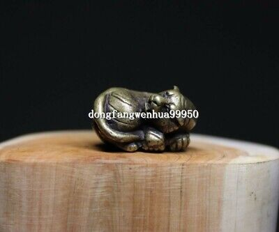 China Copper Bronze Chinese Zodiac Animal Tiger Lucky Statue Pendant D110