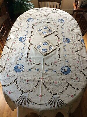 Elaborately Embroidered Madeira Linen Cut Work Tablecloth w/ Napkins NEW MINT
