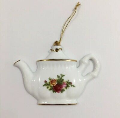 Vintage Royal Albert Old Country Roses Tea Pot Christmas Ornament.