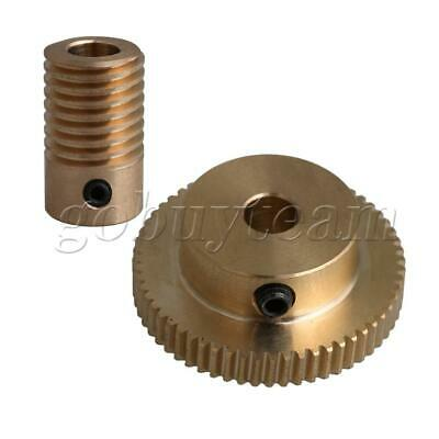 Yellow 0.5 Modulus Brass Worm Gear Shaft with 60T Gear Wheel DIY Parts