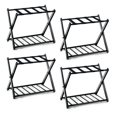 4 PCs Folding Metal Luggage Rack Suitcase Shoe Holder Hotel Guestroom w/Shelf