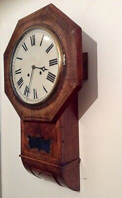 Unusual 19th C. German Grainy Oak Octagonal Drop Dial chiming wall clock