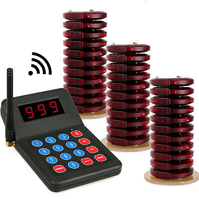 Wireless Paging Queuing 1xTransmitter+30Coaster Pagers System for Restaurant CN