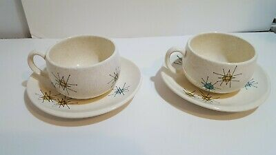 1950s Vintage Franciscan Atomic Starburst Mid Century Mod 2 Sets Tea Coffee Cups