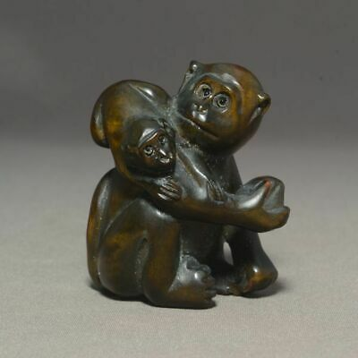 Netsuke -Peach Monkey Parent and Child- Japanese wooden Figure sculpture Ojime