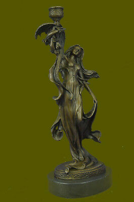 Goddess Candle Holder French Artist Jean Patoue Beautiful Sculpture Figure Sale