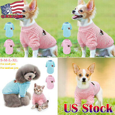 US Dog Knitted Sweater Embroidery Chihuahua Clothes Pet Puppy Cats Jumper Yorkie