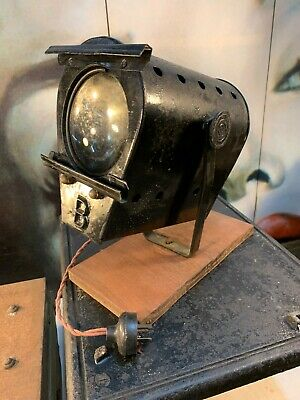 Antique Vintage Black Metal Theatre Display Spot Lamp on Timber Block