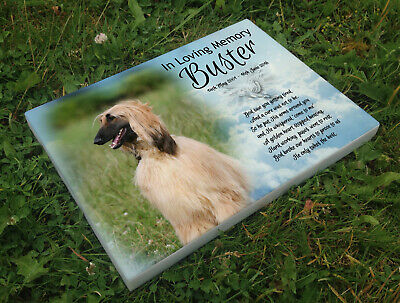Personalised grave headstone memorial plaque pet dog Afghan hound or any breed