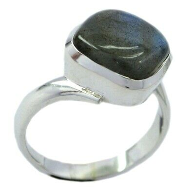 Real Oval Labradorite Solid Silver Ring For Women Bezel Setting Size 5,8,9,10,12