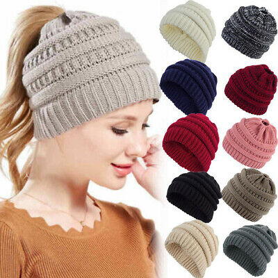 Ladies Beanietail Messy Bun Ponytail Cap Knitted Beanie Skull Girl Casual Hat aa
