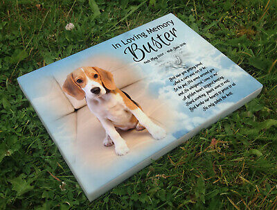 Personalised grave headstone memorial plaque pet dog Beagle hound or any breed